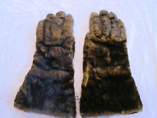 Antique Rabbit Fur Gloves with Leather Palms and Silk Lining
