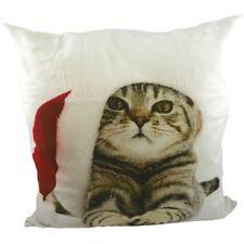 Kissen - Dekokissen Katze mit Weihnachtsmütze ca 50 x 50 cm Sofakissen