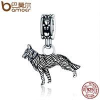 BAMOER Retro S925 Sterling silver charm Loyal shepherd Dangle Fit Women bracelet