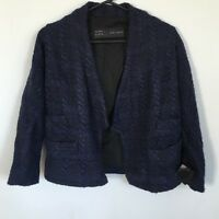BNWT ZARA BLUE BOUCLE WOOL MIX CHAIN DETAIL TWEED FANTASY STYLE JACKET M 10 Z576