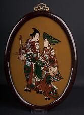 Cina 20. JH. a Chinese REVERSE Glass Painting 'Two Bijin' after Suzuki Harunobu