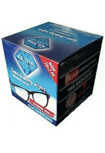 ULTRA CLEAN TOUCH LENS WIPES, GLASSES CLEANING WIPE 52 WIPES SUNGLASSES WIPES