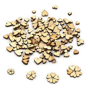 100 Gemischte Holz Herzen Stücke Mini Holz Herzen zur Dekoration Verzierungen