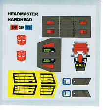 TRANSFORMERS GENERATION 1, G1 AUTOBOT PARTS HARDHEAD REPRO LABELS / STICKERS