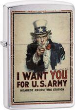 Zippo Vintage War Poster Uncle Sam US Army Lighter Brushed Chrome 29595 NEW