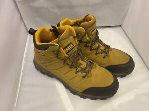 Mens Dewalt Beige Leather Leather Steel Toe  Work Boots Size UK 12 Worn / used