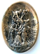 Antique FRENCH 1850s RELIEF SCULPTURE Crucifixion CARVING Signed RELIGIOUS ART