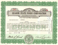 Quaker State Foods Corporation > 1960s share stock certificate