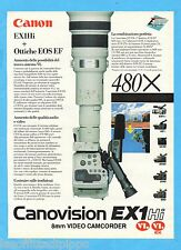 QUATTROR992-PUBBLICITA'/ADVERTISING-1992- CANON - EX1 Hi 8mm VIDEO CAMCORDER