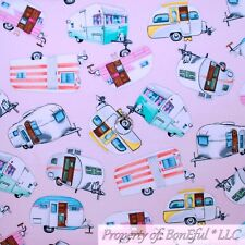 BonEful FABRIC FQ Cotton Quilt Pink Travel Trailor Camper Cabin Camp 5th Wheel S