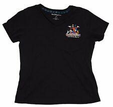 Walt Disney World Mickey Goofy Pluto Embroiderd Black Womens T-Shirt Size L NWOT