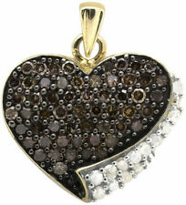 10K Yellow Gold  FN With 0.50 Ct Diamond Heart Shape Charm Pendant For Women