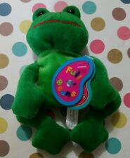 AVON FULL O' BEANS TAD THE FROG BEANIE BABY GREEN WITH TAG BIRTH STONE MARCH