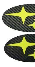 NEON Yellow/Green Carbon Fiber EMBLEM Overlays PRECUT Badge F/R BRZ 12-18