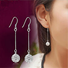 Women Long Chain Silver Hook Earring CZ Crystal Drop Dangle Bridal Jewelry Gifts