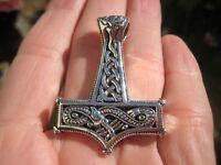 925 Silver Viking Mjolnir Mjolhner Dragon Hammer of Thor Pendant A31