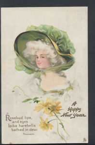 Greetings Postcard - A Happy New Year - Maidens Fair, Lady Wearing Bonnet T1060