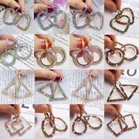 Fashion Geometrical Crystal Rhinestone Earrings Circle Heart Love Bling Ear Hoop
