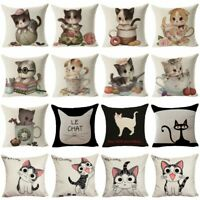 Cotton Linen Cartoon Cat Throw Pillow Case Cushion Cover Sofa Chair Home Decor