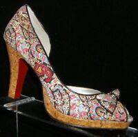 Unlisted I'm Spending floral fabric peep toe bow slip on cork platform heels 8.5