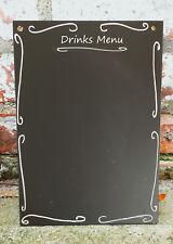 A4 Chalkboard Ornate Drinks Menu Shabby Chic Blank Large Blackboard 42cm x 30cm