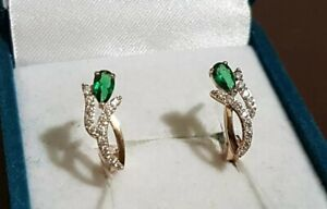 Earrings Russian gold Solid Rose gold 14K 585 NEW USSR Soviet emerald flower 2g