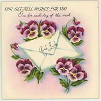 VINTAGE GARDEN FLOWERS PANSY PANSIES WISHES DAYS OF WEEK CARD CHEER ART PRINT