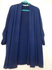 Susan Graver Blue Long Waterfall LagenLook Style Cardigan Size XL (18/20)