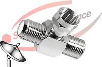 SAT Verteiler Adapter F Verbinder 1x Stecker an 2x Buchse aus Vollmetall TOP