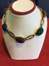 Vintage Ladies 5 Stone Scarab Choker. 16.5 In. Stamped 1/20 12 Kt Gf Wre