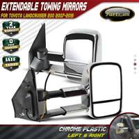 1 Pair Chrome Extendable Towing Mirrors for Toyota Landcruiser 200 Series