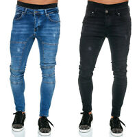 Mens Jeans Skinny Denim Pants Bodycon Slim Casual Tight Basic Trousers Bottoms