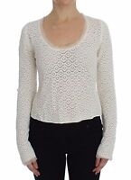 NWT $650 DOLCE & GABBANA White Lace Crochet Knitted Sweater Top IT44 / US10 / L