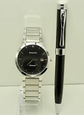 Accurist MB1066B Gents Diamond Set Date Bracelet Watch & Pen Gift Set RRP £99.99