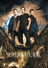 SUPERNATURAL CAST OF 3 AUTOGRAPH SIGNED PP PHOTO POSTER