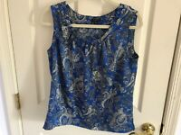 Woman's Talbots size small petite blue multicolored sleeveless pin tuck top