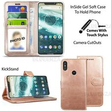 For Motorola One Case Phone Protector Leather Wallet Cover Flip Book Magnetic
