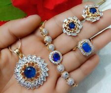 Blue Stone Sapphire Gold Tone Jewelry Ad Ring Bracelets Pendant Necklace Earring
