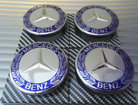 Mercedes Blue Alloy Wheel Centre Hub Caps AMG A B C E S M Class ML CLA GLA SLK