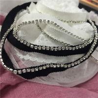 """2Yard Bling Rhinestone Trim Wedding Ribbon DIY Stage Clothing Sewing 0.39"""" Width"""