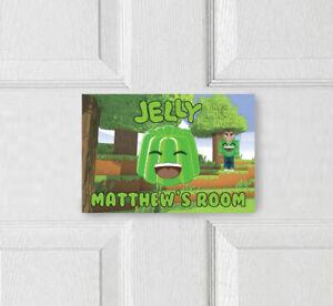 Personalised Jelly Door Plaque Sign Merch Gamer Youtuber Roblox Minecraft