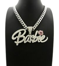 "Nicki Barbie Pendant With 9mm 18"" Cuban Link Chain Necklace"