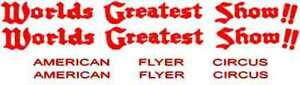 American Flyer CIRCUS PASSENGER CAR SELF ADHESIVE STICKER SET for S Trains Parts