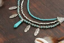 Stunning Handmade 3 Layer Blue Turquoise Pendant & Silver Leaf Chain Necklace
