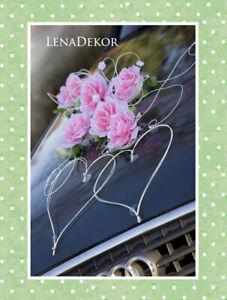 ZUZA pink white wedding car decorations kit voiture de mariage décoratio slub