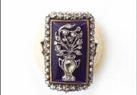Victorian 2.80ct Rose Cut Diamond Sterling Silver & Yellow Topaz Enamel Ring