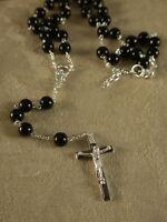 Men's / Women's Black Rosary Bead Cross Pendant Necklace N228