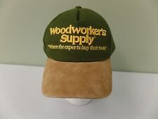 Woodworkers Supply Hat Cap Two Tone Green & Tan Suede Bill Strapback NWOT