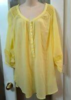 Womens Lane Bryant Yellow Peasant 3/4 Sleeve Blouse Top 22 24 2x 3x Plus