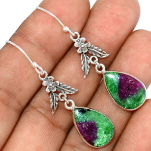African Ruby With Zoisite 925 Sterling Silver Earring Jewelry BE68712 206J